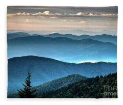 The Far Blue Smoky Mtns. Fleece Blanket