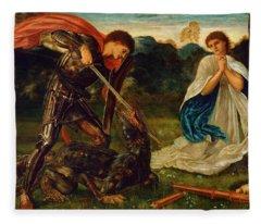 The Fight St George Kills The Dragon Vi Fleece Blanket