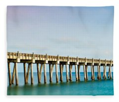 The Fishing Pier Fleece Blanket