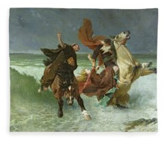 The Flight Of Gradlon Mawr Fleece Blanket