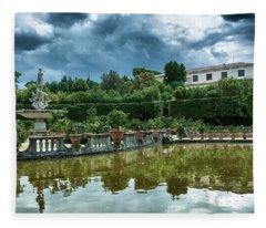 The Fountain Of The Ocean At The Boboli Gardens Fleece Blanket