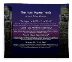 The Four Agreements Poster Fleece Blanket