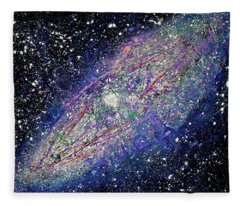 Fleece Blanket featuring the painting the Galaxy  by Michael Lucarelli