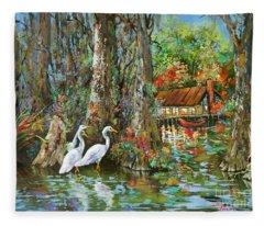 The Gathering - Louisiana Swamp Life Fleece Blanket