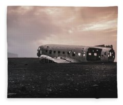 The Ghost - Plane Wreck In Iceland Fleece Blanket