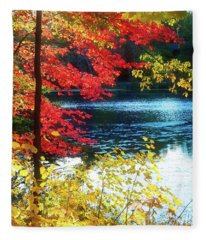 The Glory Of A New England Autumn Fleece Blanket