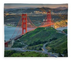 The Golden Gate At Sunset Fleece Blanket