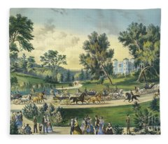 The Grand Drive, Central Park, New York, 1869 Fleece Blanket