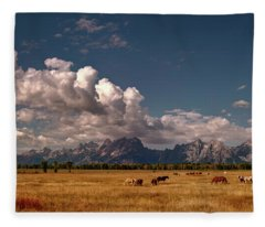 The Grand Tetons National Park Horses Olena Art Photography   Fleece Blanket