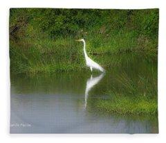 Great Egret By The Waters Edge Fleece Blanket