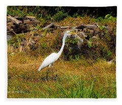 Egret Against Driftwood Fleece Blanket