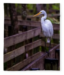 The Great Egret Fleece Blanket