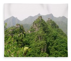 The Great Wall Of China Winding Over Mountains Fleece Blanket