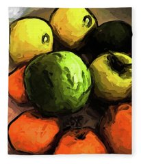 The Green And Gold Apples With The Orange Mandarins Fleece Blanket