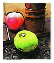 The Green Lime And The Apple With The Pepper Mill Fleece Blanket
