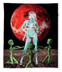 The Green Queen Is Blue Fleece Blanket