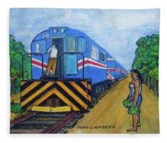 The Green Train From Limon Costa Rica Fleece Blanket