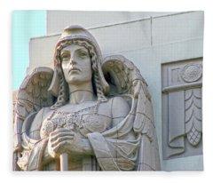 The Guardian Angel On Watch Fleece Blanket