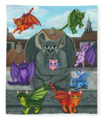 The Guardian Gargoyle Aka The Kitten Sitter Fleece Blanket