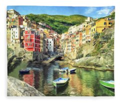 The Harbor At Rio Maggiore Fleece Blanket
