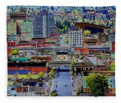 The Heart Of Downtown Spokane  Fleece Blanket