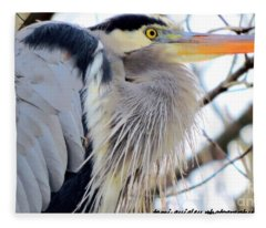 The Heron In Winter  Fleece Blanket