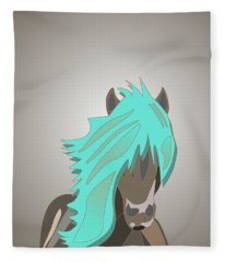 The Horse With The Turquoise Mane Fleece Blanket