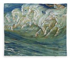 The Horses Of Neptune Fleece Blanket
