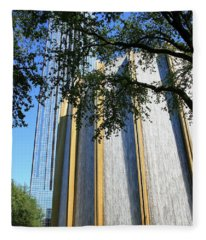 The Houston Water Wall And Williams Tower Fleece Blanket