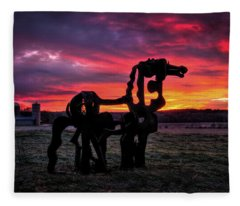 The Iron Horse Sun Up Art Fleece Blanket