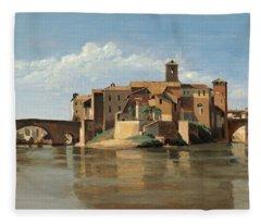 The Island And Bridge Of San Bartolomeo Fleece Blanket