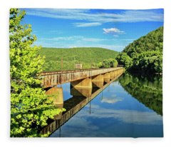 The James River Trestle Bridge, Va Fleece Blanket
