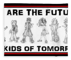 Fleece Blanket featuring the drawing The Kids Of Tomorrow 2 by Shawn Dall