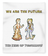 Fleece Blanket featuring the digital art The Kids Of Tomorrow Corie And Albert by Shawn Dall
