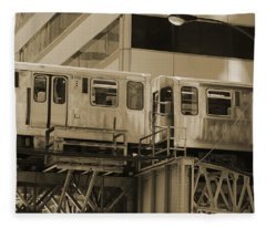 The L Downtown Chicago In Sepia Fleece Blanket