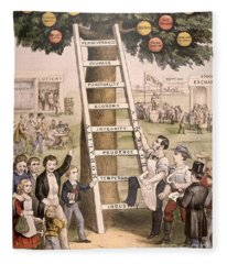 The Ladder Of Fortune To The American Dream Fleece Blanket