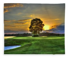 The Landing Golf Course Reynolds Plantation Landscape Art Fleece Blanket