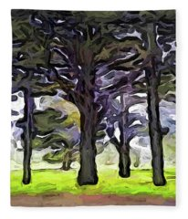 The Landscape With The Trees In A Row Fleece Blanket