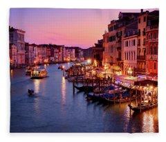The Blue Hour From The Rialto Bridge In Venice, Italy Fleece Blanket