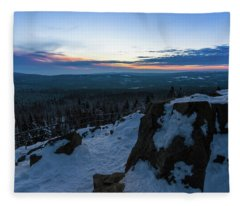 the last light of the day in the Harz mountains Fleece Blanket