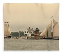 The Lighthouse At Rockland Fleece Blanket