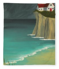 The Lighthouse On The Cliff Fleece Blanket