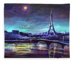 The Lights Of Paris Fleece Blanket