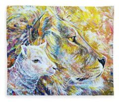 The Lion And The Lamb Fleece Blanket