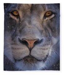 The Lion In Winter Fleece Blanket