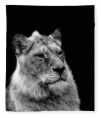The Lioness Sitting Proud Fleece Blanket
