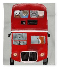 The Little Big Red Bus Fleece Blanket
