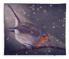 The Little Robin At The Night Fleece Blanket