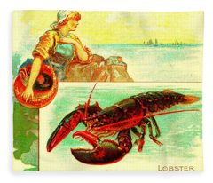 The Lobster Allen And Ginter Cigarettes Tobacco Card 1880s Fleece Blanket