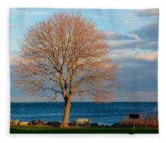 Fleece Blanket featuring the photograph The Lone Maple Tree by Nancy De Flon